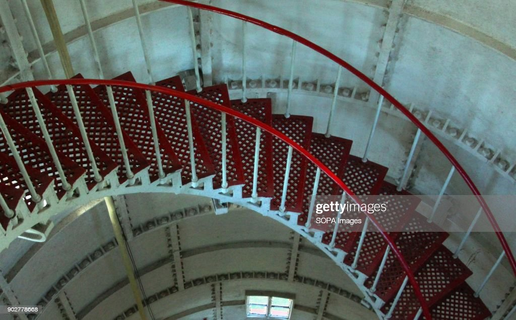 Spiral Staircase Inside Of Lighthouse. Lighthouse Keepers... : News Photo
