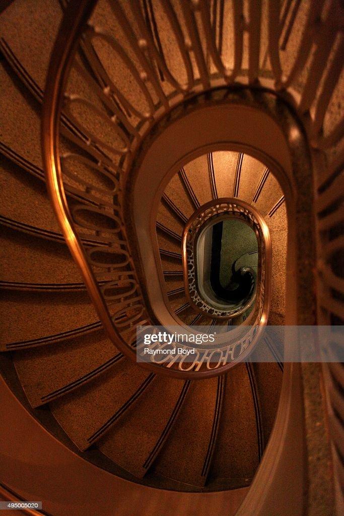Spiral Staircase Inside The Newly Restored Art Deco Hampton Inn Michigan  Avenue (Chicago Motor