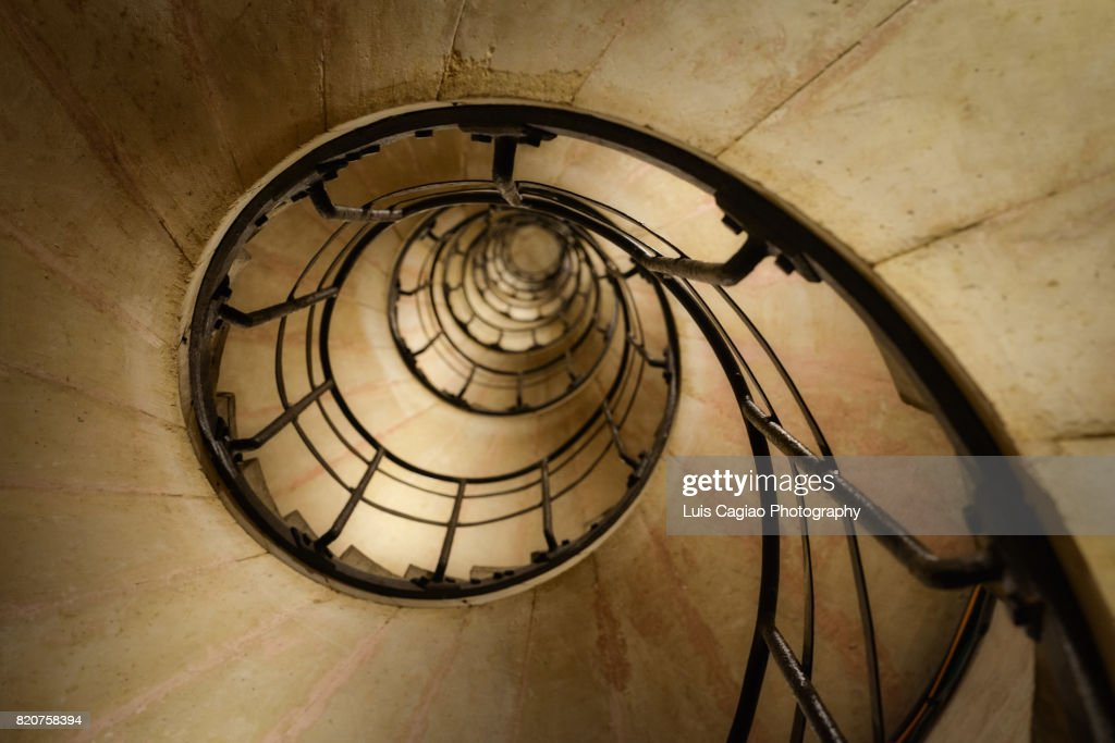 Spiral Staircase Inside The Triumphal Arch Of Paris : Stock Photo