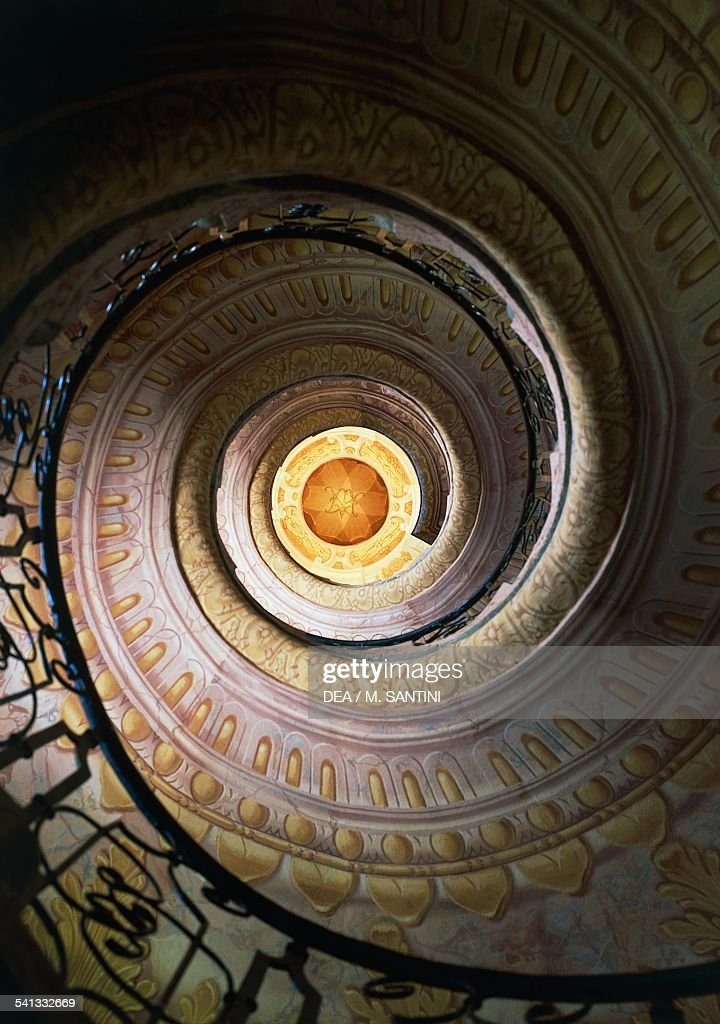 Spiral staircase of the library... : News Photo
