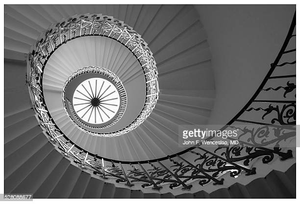 spiral staircase - black and white instant print stock pictures, royalty-free photos & images