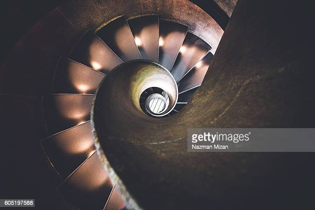 Spiral stairs as viewed from above.