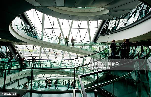 spiral stairs, city hall, london - town hall stock photos and pictures