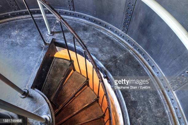 spiral stairs inside the cape florida lighthouse at bill baggs cape florida state park, key biscayne - florida us state stock pictures, royalty-free photos & images