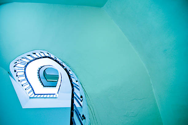 spiral stairs, up, blue