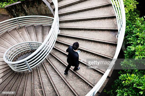 spiralling upwards - steps stock photos and pictures