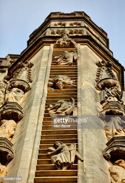 Spire of Bath Abbey with frieze of 'Jacon's Ladder'