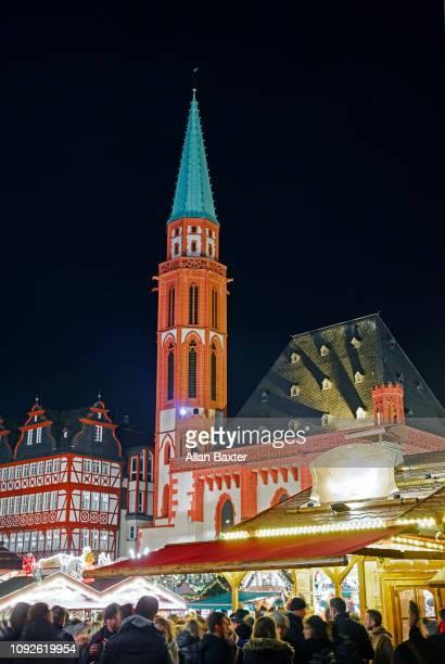 Spire of 'Old St Nicholas church' in Romerberg square of Frankfurt