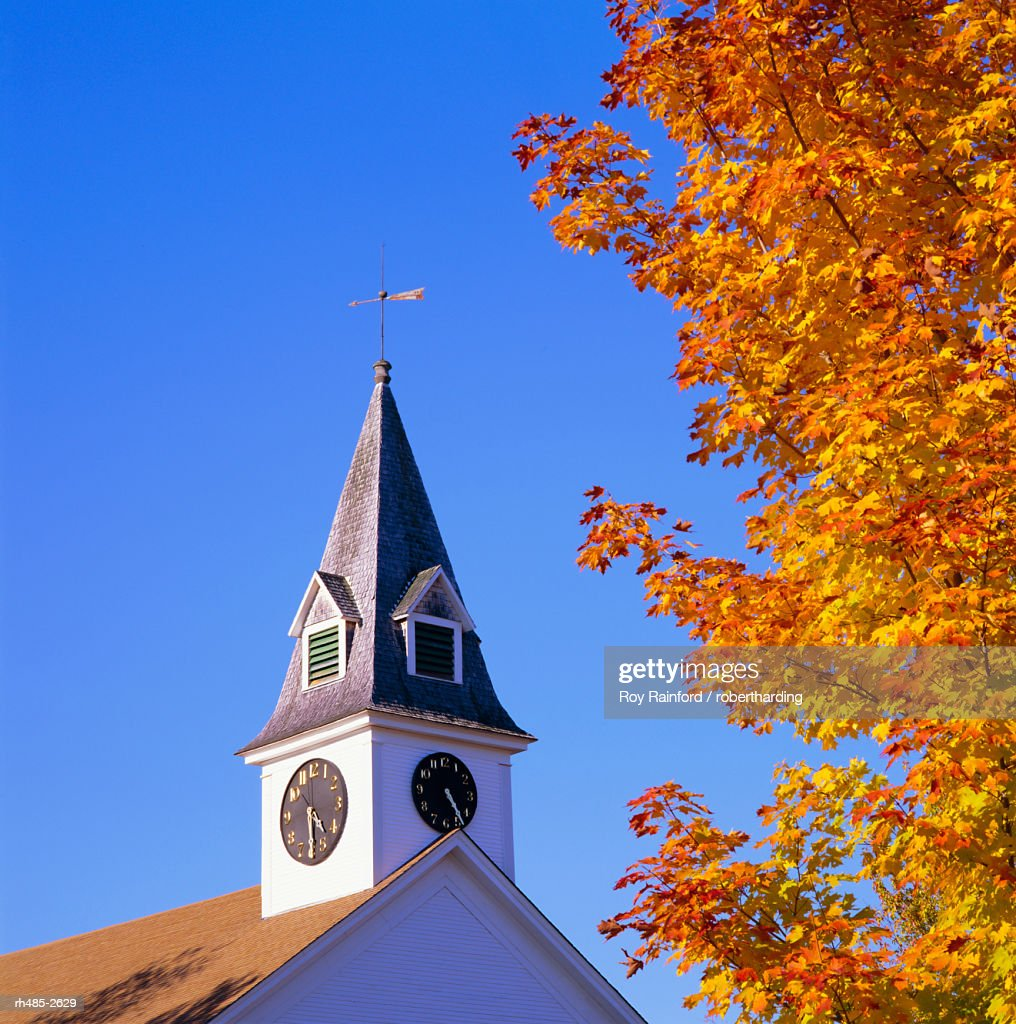 Spire of Sugar Hill Meeting House, New Hampshire, New England, USA, North America : Stockfoto