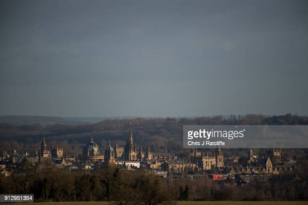 Spires and rooftops of buildings in Oxford city are seen from a view point on February 1 2018 in Oxford England