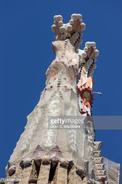 Spires of Sacred Family Church, design by Antoni Gaudi, Barcelona , Catalonia, Spain. Detail.