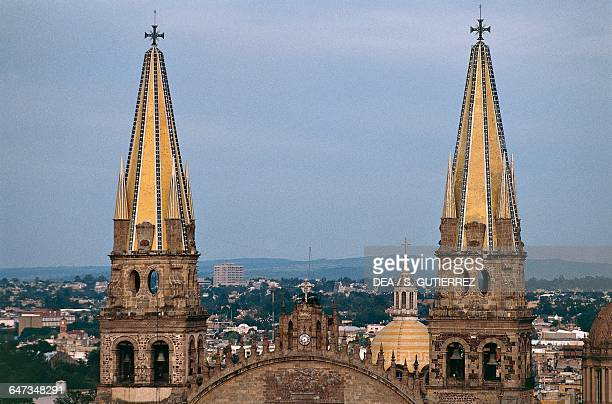 Spires of the Cathedral of the Assumption of Our Lady 15611618 Guadalajara state of Jalisco Mexico 16th17th century