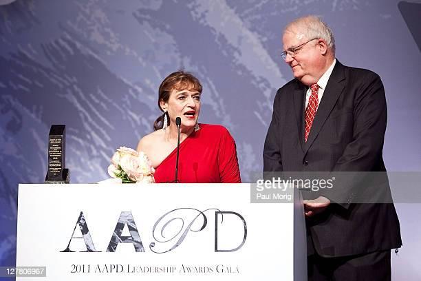 Spirit Award winners Cheryl Sensenbrenner and The Honorable James F Sensenbrenner on the podium at the 2011 AAPD Awards Gala at the Ronald Reagan...