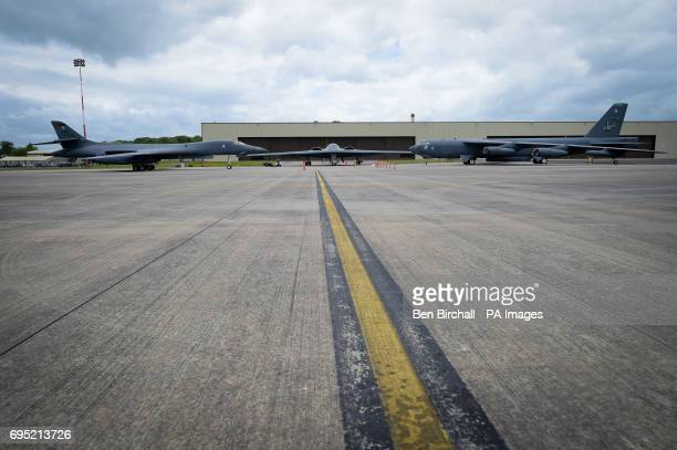 Spirit bomber, centre, B-1B Lancer, left and a B-52 Stratofortress, right, on the pan at RAF Fairford.