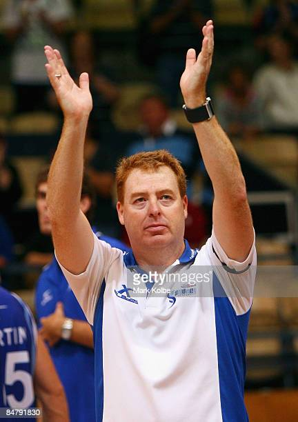 Spirit coach Rob Beveridge waves farewell to the crowd after the round 22 NBL match between the Sydney Spirit and the New Zealand Breakers at the...