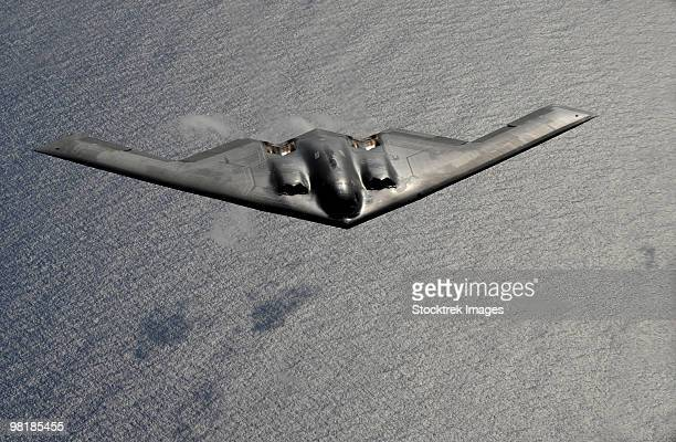 A B-2 Spirit flies over the Pacific Ocean.