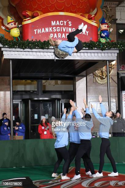 Spirit of America Cheerleaders perform during Day 2 of the 2018 Macy's Thanksgiving Day Parade Rehearsals at Macy's Herald Square on November 20 2018...