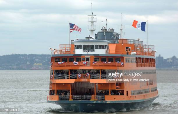 Spirit of America, the newest Staten Island Ferry boat, sails on its maiden voyage to the Whitehall Terminal in lower Manhattan.
