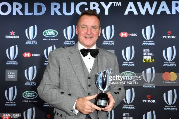 Spirit of Rugby Awards Jamie Armstrong of Scotland poses with his trophy during the World Rugby Awards on November 25 2018 at the MonteCarlo Sporting...