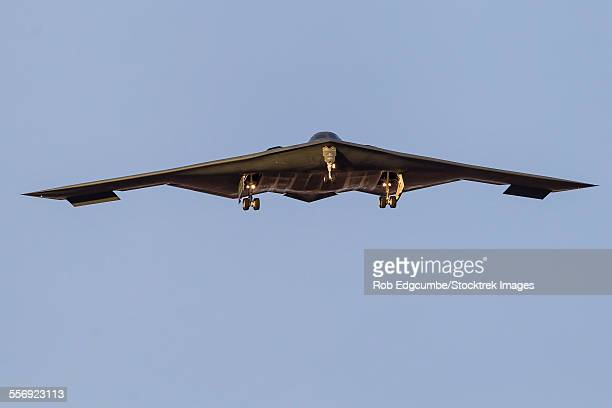 A B-2 Spirit of the U.S. Air Force on final approach for Nellis Air Force Base, Nevada, just before sunset.