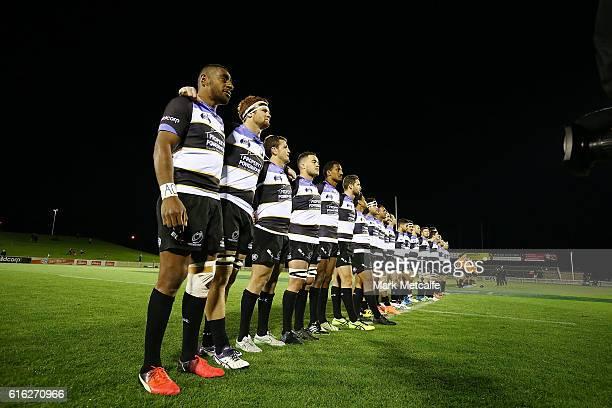 Spirit players line up for the national anthem before the 2016 NRC Grand Final match between the NSW Country Eagles and Perth Spirit at Scully Park...