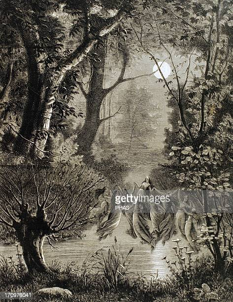 Spirits of nature Undines in a circle over the water of a river Engraving of The Illustration 1885