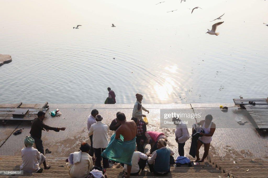 Spiritual Bath At River Ganges In Varanasi : Stock Photo