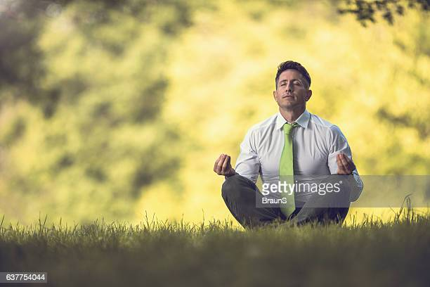 Spiritual businessman doing Yoga relaxation exercises in grass.