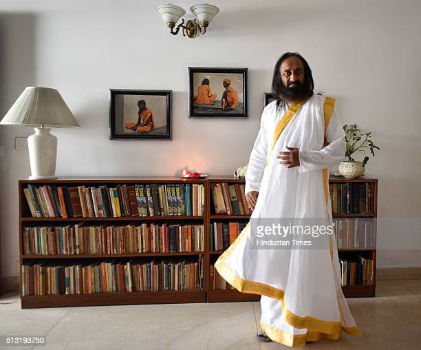 Spiritual guru and founder of the Art of Living Foundation Sri Sri Ravi Shankar during an interview on March 1 2016 in New Delhi India The Art of...