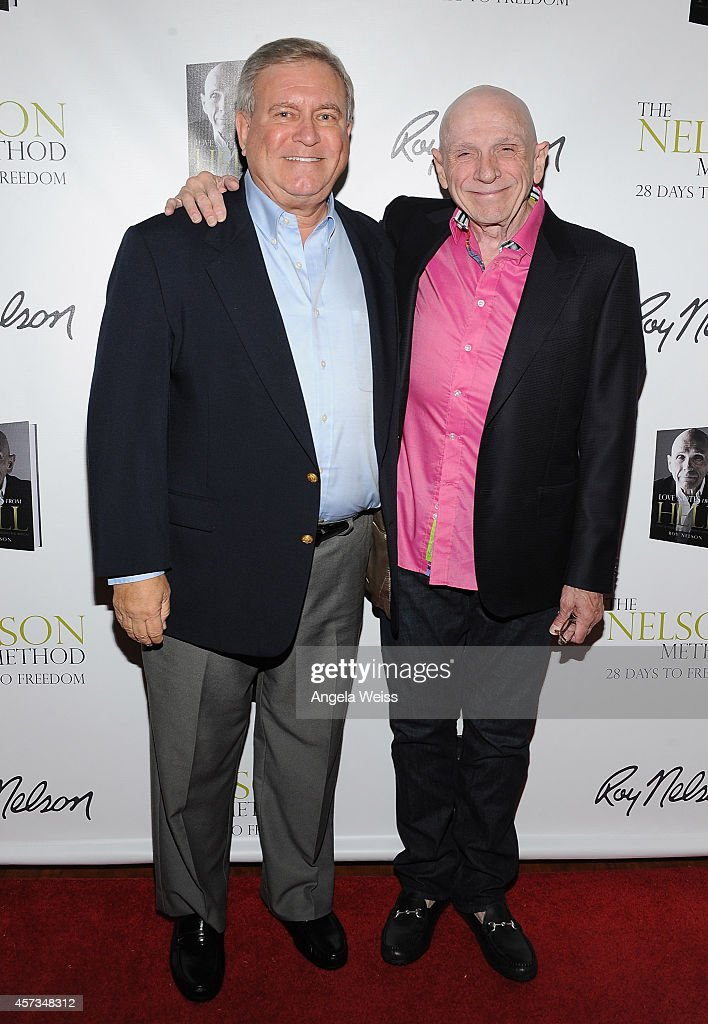 Spiritual Healer/Author Roy Nelson (R) with Business and Fashion Brand Icon, Fred Segal attend Roy Nelson's Book Launch for 'Love Notes From Hell' at Beverly Hills Women's Club on October 15, 2014 in Beverly Hills, California.