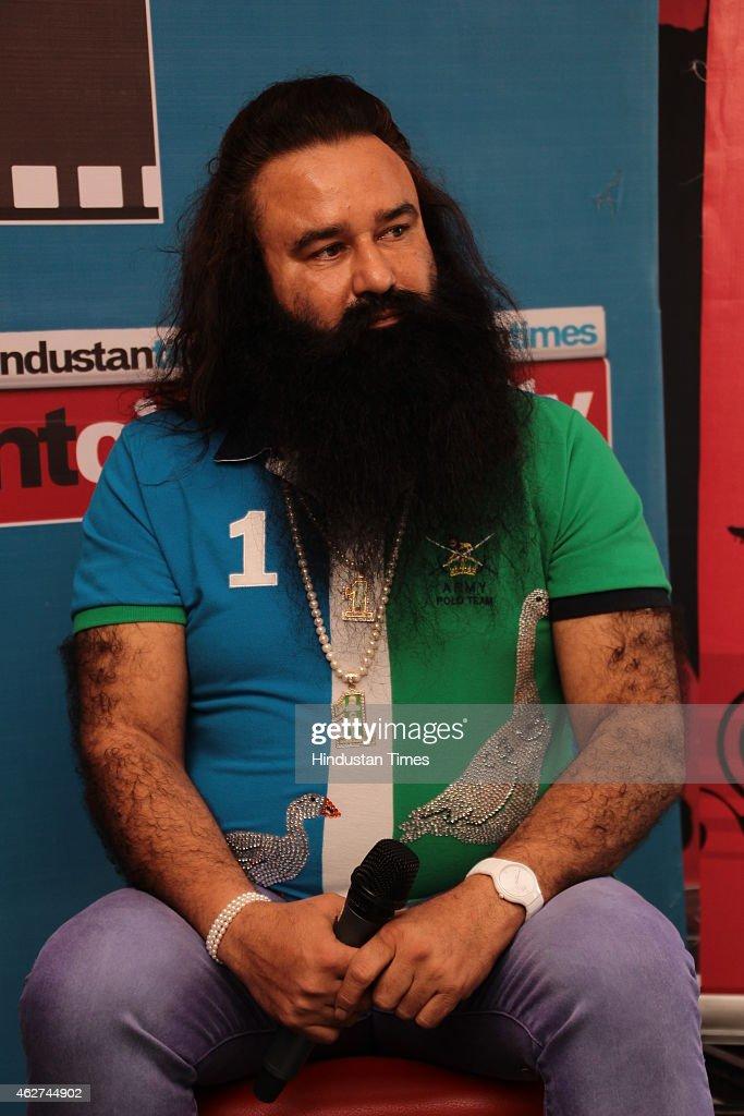 Dera Sachca Sauda Chief Gurmeet Ram Rahim Singh At HT House For Promotion Of His Film MSG: The Messenger of God : News Photo