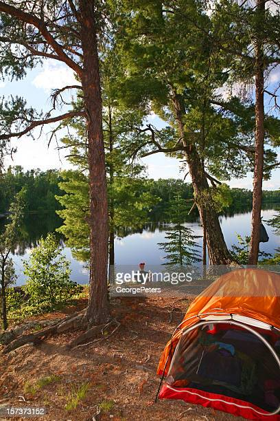 spiritual moment as the sun starts to set - boundary waters canoe area stock pictures, royalty-free photos & images