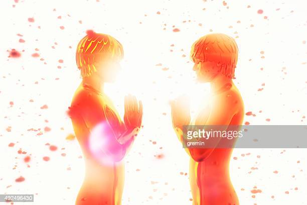 spirituality, meditation, energy, friendship, love - aura stock pictures, royalty-free photos & images
