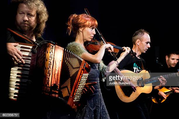 Spiro in concert at Sidmouth Folk Week in Sidmouth Devon UK 4th August 2015 From left to right they are Jason Sparkes on accordion Jane Harbour on...