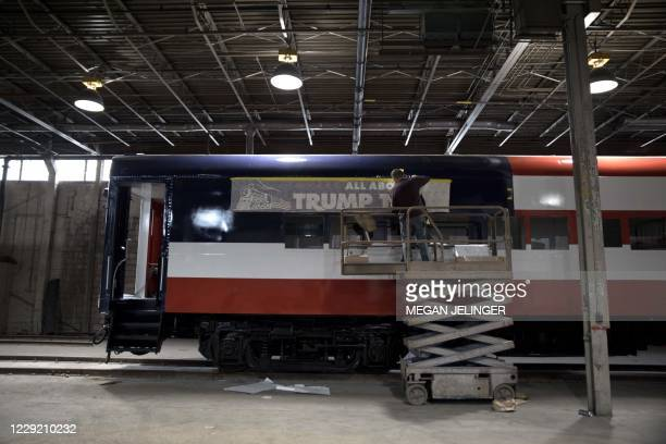 Spiros Bakeris refurbish a passenger train car named the Trump Train in Lordstown, Ohio on October 15, 2020. Bakeris and his brother George hope to...