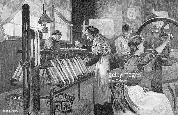 Spitalfields silk weavers, 1893. Here the women are winding and reeling silk thread. This enclave of the silk industry in East London was founded by...