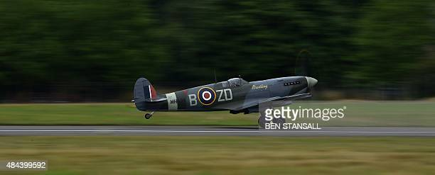 Spitfire aircraft prepares to take off from Biggin Hill airfield in Kent, on August 18, 2015. World War II aircraft including 18 Spitfires and six...