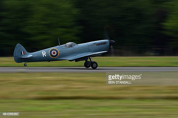 Spitfire aircraft takes off from Biggin Hill airfield in Kent, on August 18, 2015. World War II aircraft including 18 Spitfires and six Hurricanes...