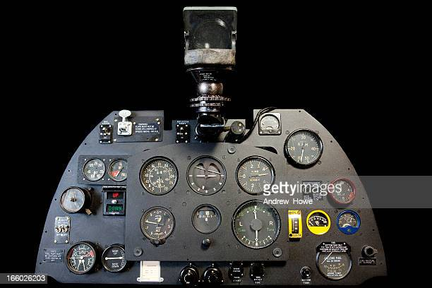spitfire cockpit instrument panel - spitfire stock pictures, royalty-free photos & images