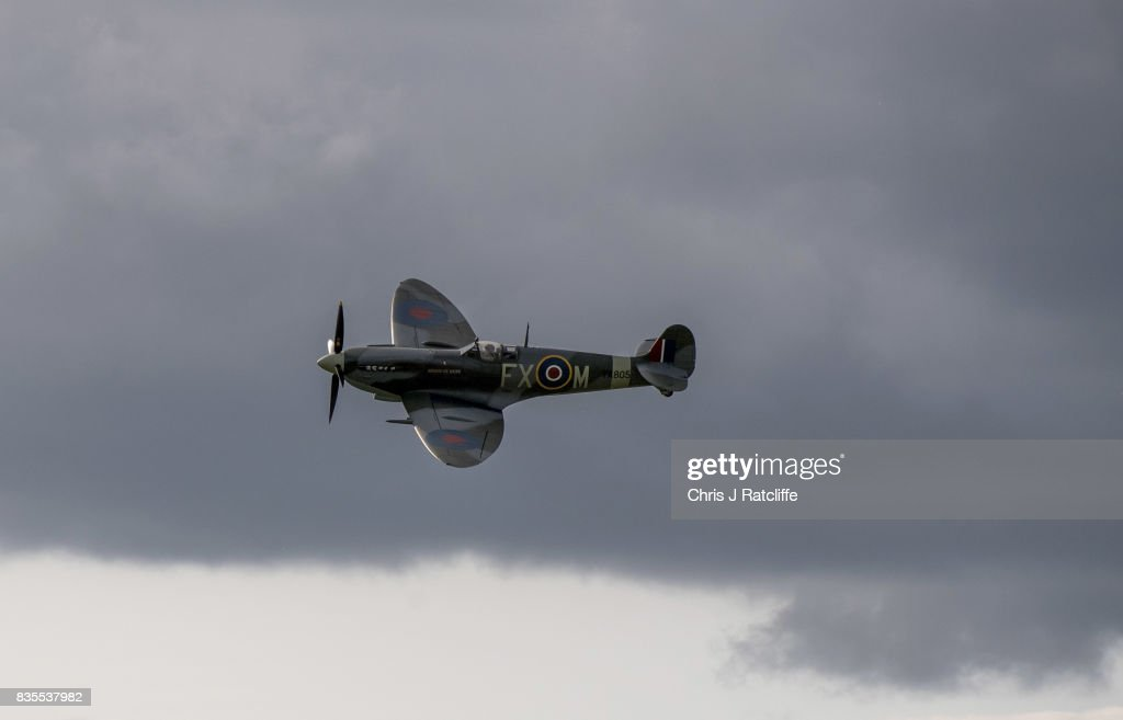 A Spitfire during a flying display at the Biggin Hill Festival of Flight on August 19, 2017 in Biggin Hill, England. The Biggin Hill Festival of Flight is an annual airshow event and in 2017 the airport is celebrating its centenary. The airport only became exclusively business and general aviation in 1959, prior to which it was used by the British Royal Air Force.