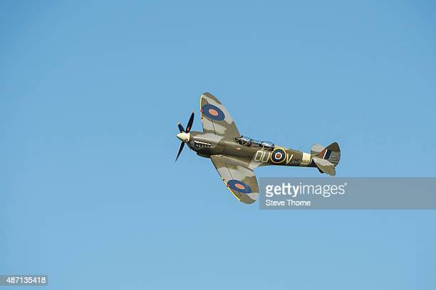 Spitfire flies overhead during the Victory Air Show in Leicestershire on September 6 2015 in Leicester England This is the 10th Anniversary of the...