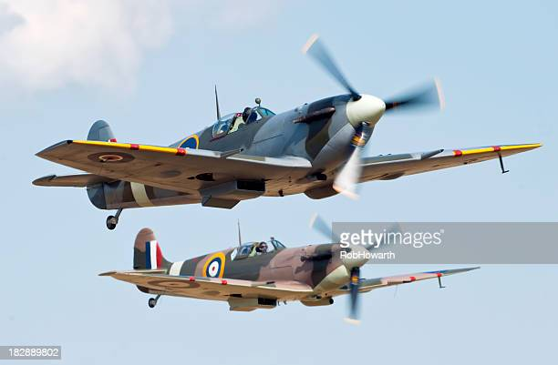 spitfire formation - raf stock pictures, royalty-free photos & images