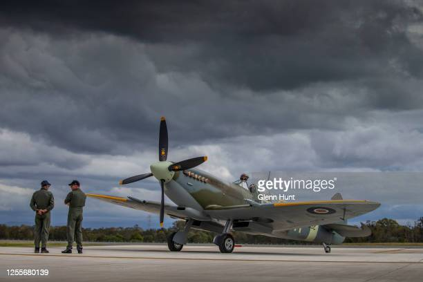 Spitfire is seen on Brisbane's new Runway at an event to celebrate the runway's opening on July 12 2020 in Brisbane Australia Construction on the $1...