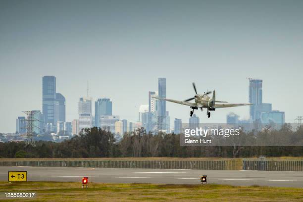 Spitfire is seen taking off from Brisbane's new Runway at an event to celebrate the runway's opening on July 12 2020 in Brisbane Australia...
