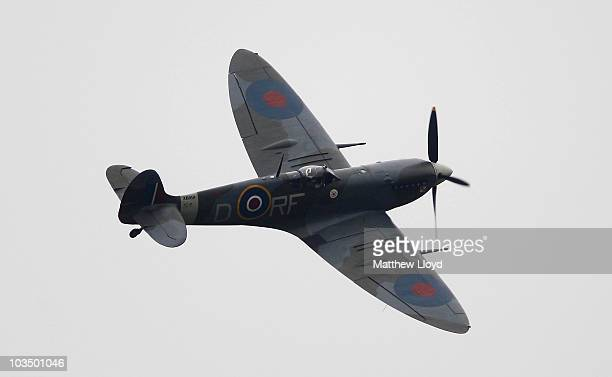 Spitfire Mk Vb from the Battle of Britain Memorial Flight flies over Biggin Hill Airfield on August 20, 2010 in London, England. Today is the 70th...