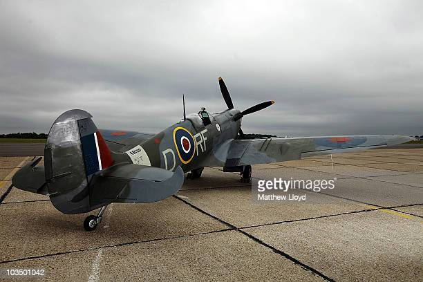 Spitfire Mk Vb from the Battle of Britain Memorial Flight on Biggin Hill Airfield on August 20, 2010 in London, England. Today is the 70th...
