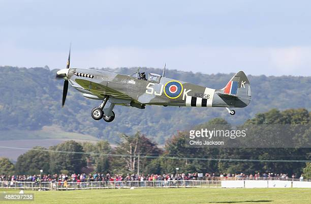 Spitfire takes off as part of a Battle of Britain 75th Anniversary flypast at Goodwood Aerodrome at Goodwood on September 15 2015 in Chichester...