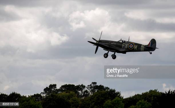 Spitfire takes off at the Biggin Hill Festival of Flight on August 19, 2017 in Biggin Hill, England. The Biggin Hill Festival of Flight is an annual...