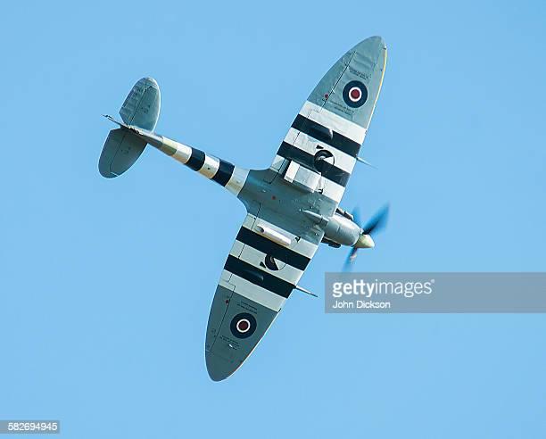 spitfire with invasion markings. - spitfire - fotografias e filmes do acervo