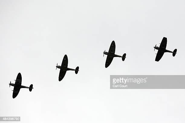 Spitfires and Hurricanes perform a fly past on August 18 2015 in Biggin Hill England Aircraft including 18 Spitfires and six Hurricanes flew over...